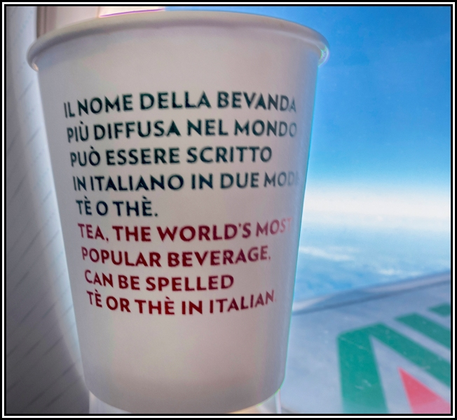Interesting message in a teacup on the Alitalia flight from Rome to Verona last week.