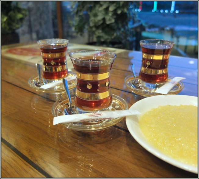 The three Turkish teas on the new gold painted tulips are ready. The hosmerim is on the right. What a joyful moment.