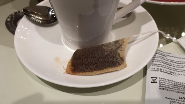 Cotton teabag after brewing